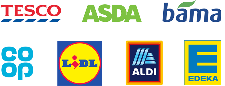 Tesco, ASDA, bama, Co-op, Lidl, Aldi and Edeka logos